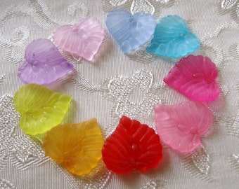 Frosted Lucite Acrylic Leaves Choose Your Colors 14mm 438