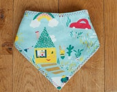Organic Baby Bandana Bib, Organic Cotton Drool Bib, Eco New Baby Gift, Adjustable Snaps, Happy Town, by Sweetpea and Co.
