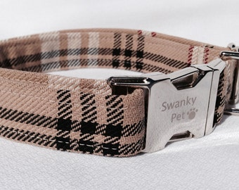 Stylish 'Furr'berry Tan Plaid Dog Collar by Swanky Pet