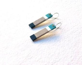 Minimalist earrings, Hand painted earrings, painted earrings,  Minimalist jewelry, Earrings, Sterling silver,