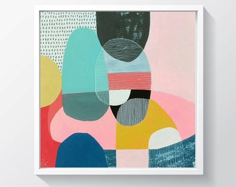 """Original acrylic painting on gallery canvas.Geometric painting. Ready to hang. 11"""" x 11"""""""
