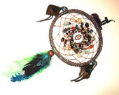FREE SAGE Gift, Boho, Gypsy, Dream Catcher, Wall Decor, Multi-Stone, Shambala, Peacock, Curly Duck Feather, Spiritual, Protective