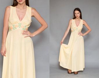 Vintage 70s Cream Yellow Flower Child Maxi Dress // Boudoir Nightgown - Size S M L