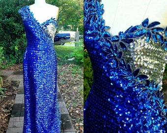 1980s Vintage Blue Silver Sequin Maxi Formal Dress One Shoulder Bodycon Slit Dress Sexy Sequins Size Extra Small