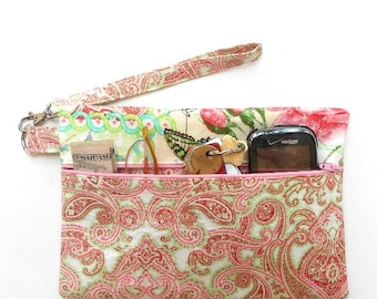 Green Paisley Clutch, Pink Floral Wristlet for Phone, Fabric Wallet With Front Zipper, Ladies Small Wrist Purse to hold Camera and Makeup