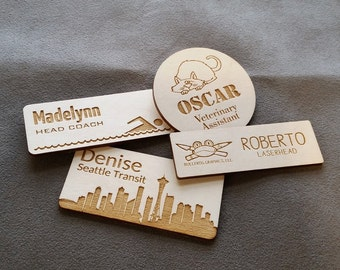 Wood engraved custom name badges with pin back