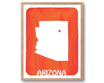 Personalized Wedding Gift - ARIZONA State Map -Bloody Orange- Custom Color Watercolor Love Birthday Anniversary GIft Children Kids poster