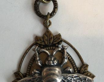Bee necklace, brass, bee pendant