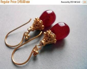 FLASH SALE, Crimson and gold chalcedony teardrop earrings, Red Earrings, Christmas Gift, Teardrop Earrings, Gemstone Earrings, red chalcedon