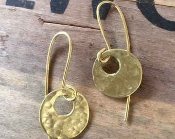 Small Gold Hammered Brass Earrings