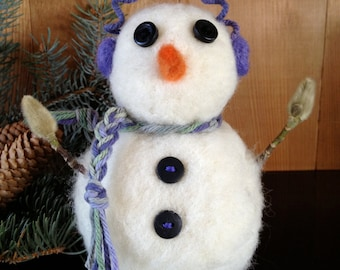 Snowman, needle felted, primitive, handmade, gift, #4