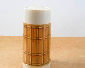 Vintage Aladdin Plaid Thermos • Vintage Plastic Brown Plaid Thermos