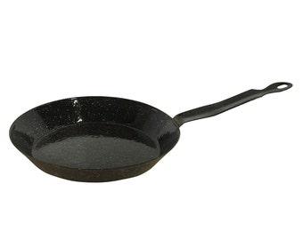 1950s Graniteware Enamel Cook Skillet Pan, Vintage Camping