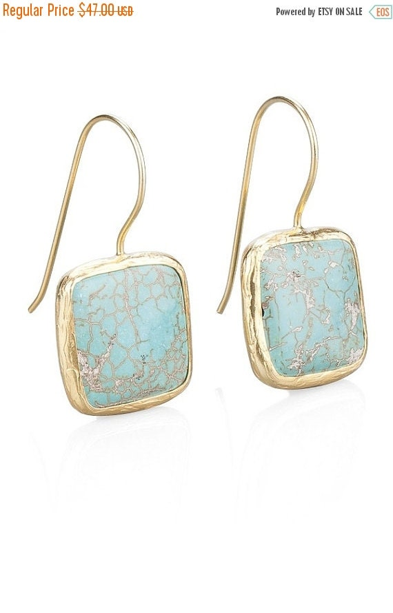 30% Fall Sale Turquoise Square Earrings With Silver Settings Coated with Gold Vermeil