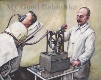 Anesthesia, Print, Ether, Surgery, Vintage Medicine, History, Doctor, Hospital, Operation, Dark Art, Macabre Art, Weird, Odd,