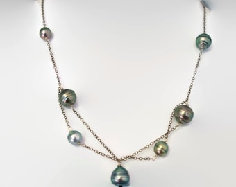 Tahitian Pearls and Oxidized Silver