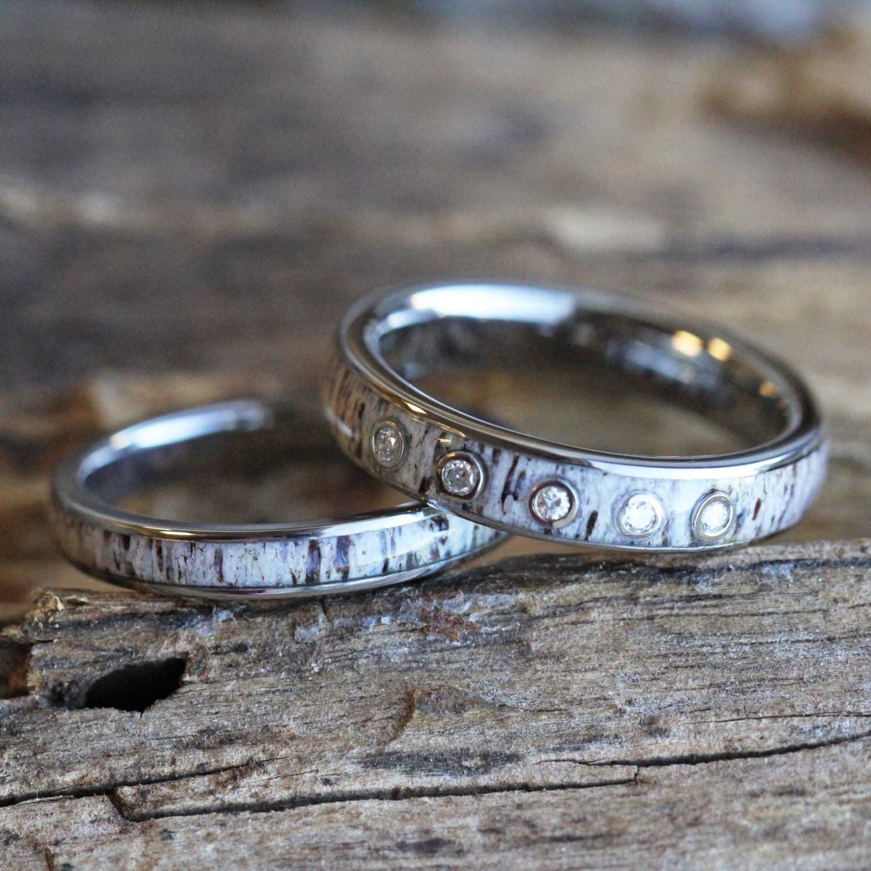 Unique Wedding Rings Antler: Women's Antler Wedding Ring Set Moissanite Ring With Deer