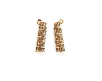Gold-tone Pewter Leaning Tower of Pisa Charms Charms