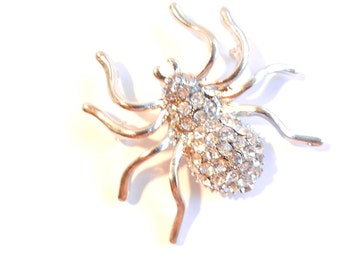 Silver-tone Rhinestone Spider Charm Pendant Double Link