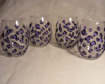 leopard print stemless wine glasses -perfect for bridesmaids, can be done in any color - can be personalized