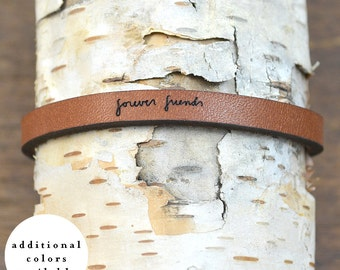 forever friends - adjustable leather bracelet  (additional colors available)