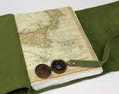 Large leather journal with map of Italy and working compass - great wedding guest book / photo album / travel album