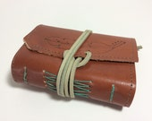 Feather leather journal - pocket sized