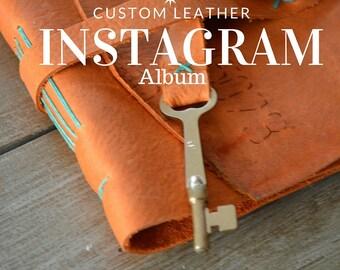 Instagram Photo Album Burnt Orange Leather