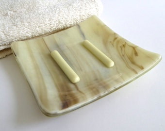 Square Soap Dish in French Vanilla and Brown Streaky Fused Glass