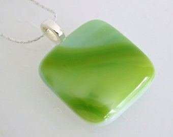 Fused Glass Pendant in Streaky Green