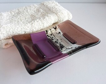 Fused Glass Soap Dish in Plum
