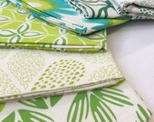 Hand Printed Fabric - Shades of Green SALE