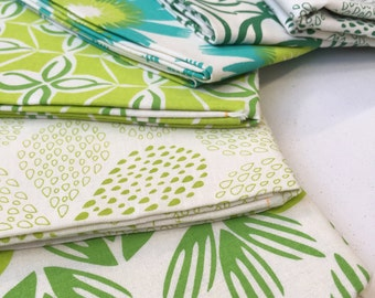 SALE Hand Printed Fabric - Shades of Green