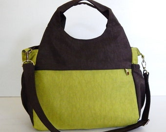 Sale - Water-Resistant Bag in apple green and chocolate brown, diaper bag, messenger, tote, women, stylish - DONNA