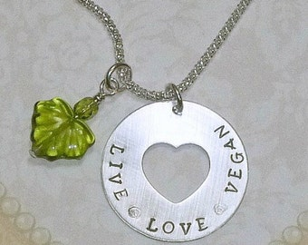 Live Love Vegan Necklace, Live Love Hand Stamped Sterling Silver Cut Out Heart Washer Necklace, Sterling Silver Vegan Jewelry