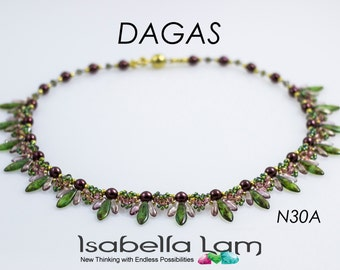 DAGAS Swarovski Pearls Czech Daggers and SuperDuo Beadwork Necklace Beading Kit (Instruction and Materials)