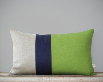 Color Block Stripe Pillow Cover in Lime Green, Navy and Natural Linen (12x20) by JillianReneDecor - Decorative Pillows, Pantone Greenery