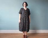 plus size dress / plus size midi dress / babydoll dress / 1990s XL XXL