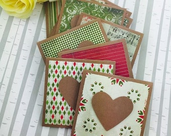Mini Heart Cards Christmas Collection Set of 9