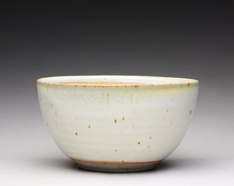 handmade pottery bowl, ceramic serving bowl, noodle bowl with satin white and orange shino glazes