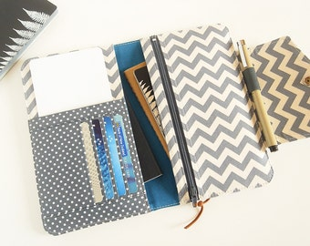 Passport Wallet, Travel Wallet, Family Passport Holder in Grey Chevron To Fit Up to Four Passports -  Made To Order