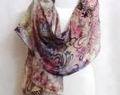 Hand-dyed Silk Shawl - Scarf - Silk Rayon Shawl, Silk Rayon Scarf, Blue Silk Scarf, Silk Shawl, Silk Scarf, Rayon Shawl - #SSH-16-10