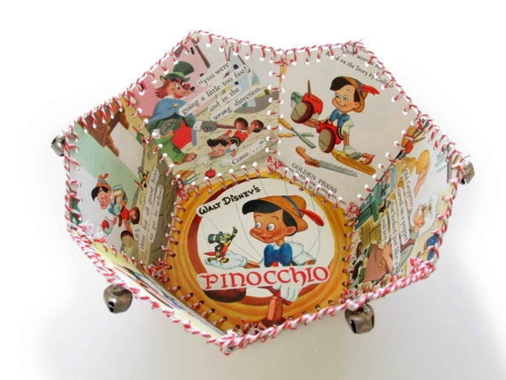 Paper Basket, Vintage Little Golden Book, Walt Disneys Pinocchio