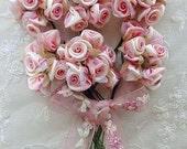 36 pc Coral Pink Cream Wired Satin Organza Rose Flower Applique Bridal Wedding Bouquet