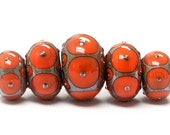ON SALE 50% OFF Glass Lampwork Bead Set - Five Coral w/Metal Dots Graduated Rondelle Beads 10705211