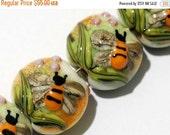ON SALE 30% OFF Glass Lampwork Bead Set - Seven Bumble Bee Garden Lentil Beads 11007302