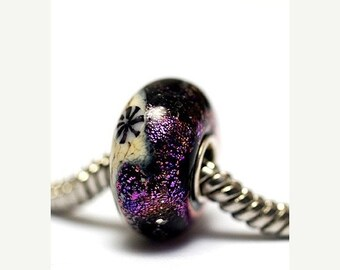 ON SALE 50% OFF Large Hole Amethyst Jewel Celestial Rondelle - Sc10112-Handmade Glass Lampwork Beads
