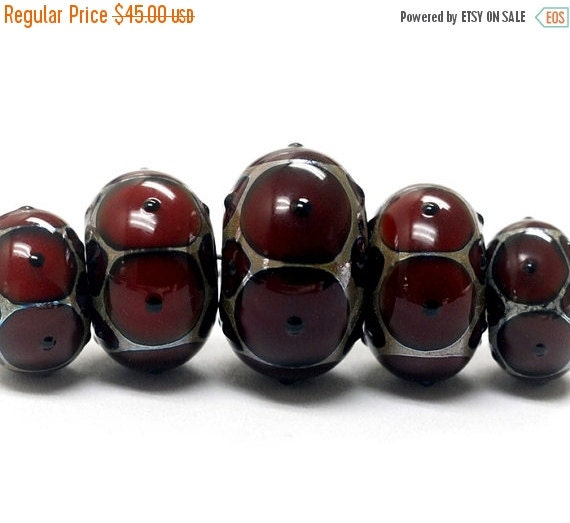 ON SALE 35% OFF Glass Lampwork Beads - Five Graduated Red w/Black Dots Rondelle Beads  - 10703901
