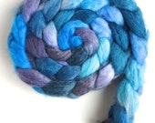 Blueface Leicester/ Tussah Silk Roving (Top) - Handpainted Spinning or Felting Fiber,  Gentle Coast