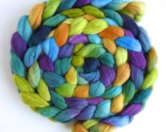 Merino/ Silk Roving (Top) - Handpainted Spinning or Felting Fiber, Homestead Purple